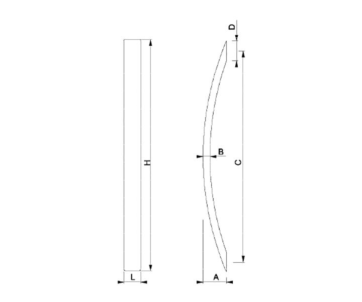 Maniglione Mod. FH 02 A - disegno tecnico