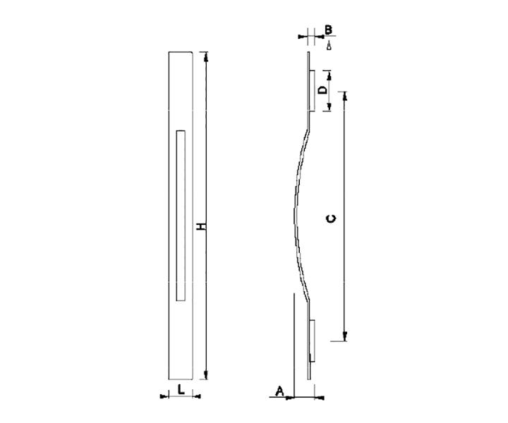 Maniglione Mod. FH 03 A - disegno tecnico