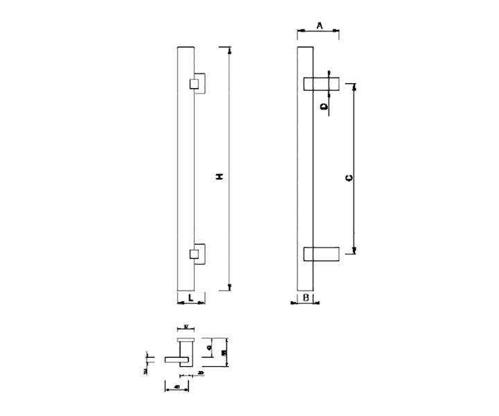 Maniglione Mod. FH 04 A - disegno tecnico