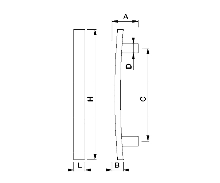 Maniglione Mod. FH 05 A - disegno tecnico