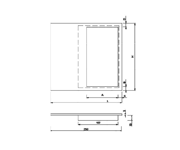 Maniglione Mod. FH 12 I - disegno tecnico