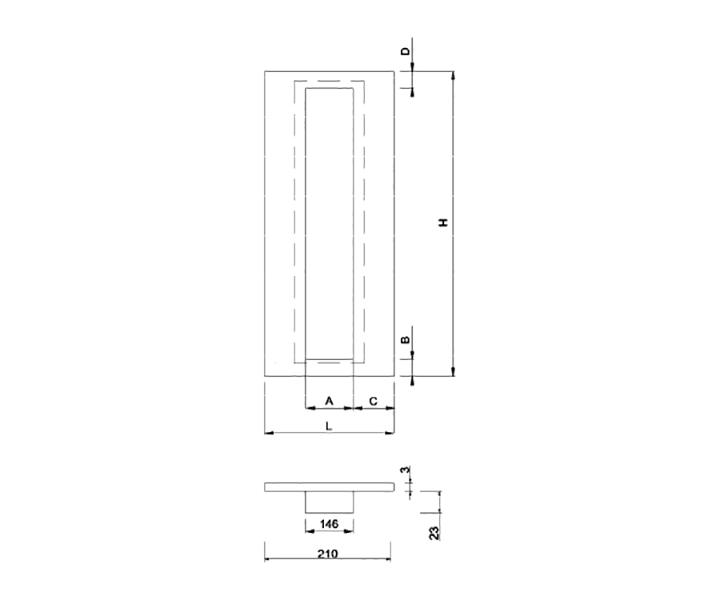 Maniglione Mod. FH 14 I - disegno tecnico