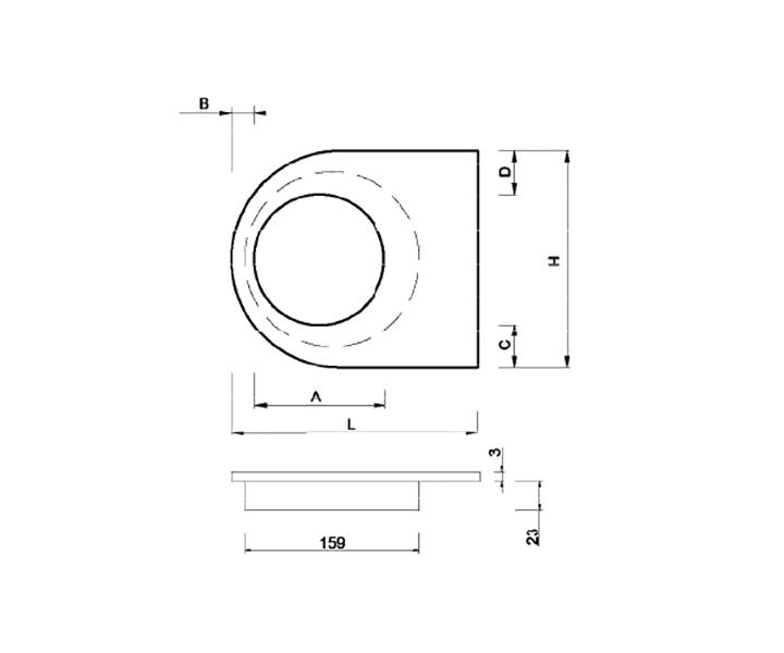 Maniglione Mod. FH 15 I - disegno tecnico