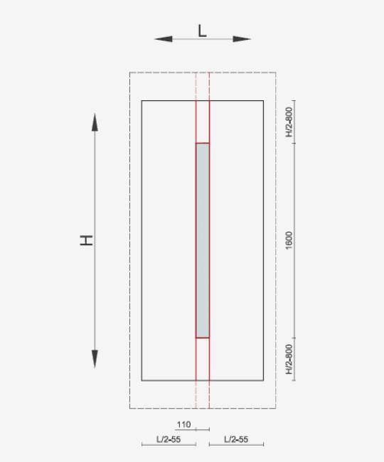 Pannelli per portoncini d'ingresso Serie 3000 - Posizionamento area decorativa