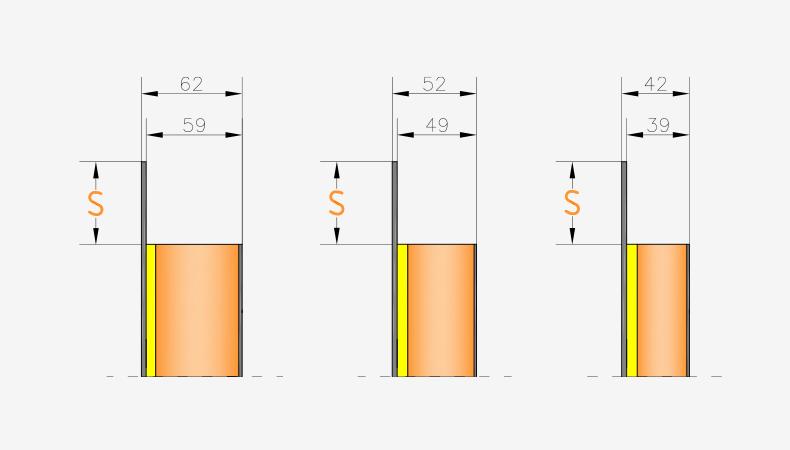 Pannelli per portoncini d'ingresso Serie 3000 - Spessori pannello interno doppio