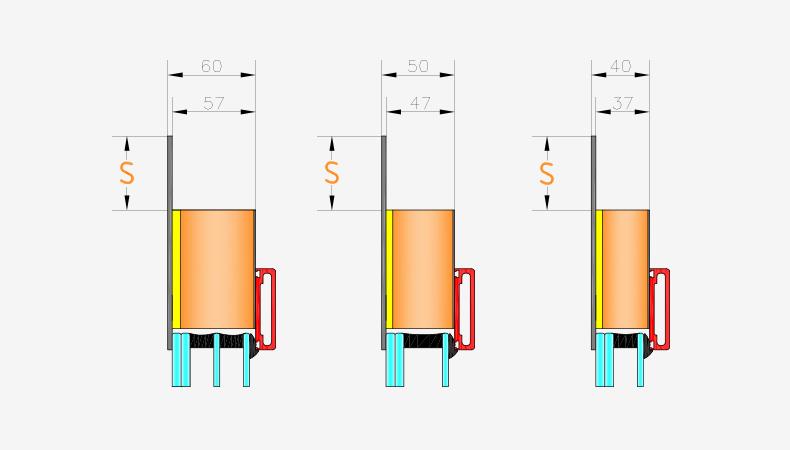 Pannelli per portoncini d'ingresso Serie 5000 - Spessori pannello interno liscio