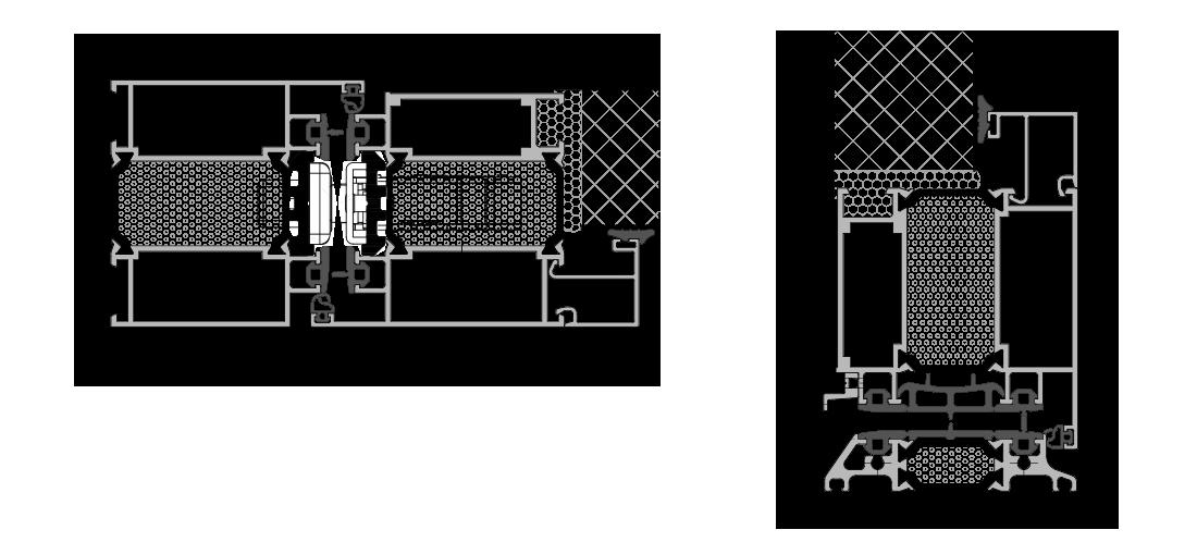 Sistema DOOR per pannello applicato esterno - inserito interno: Sezione nodi