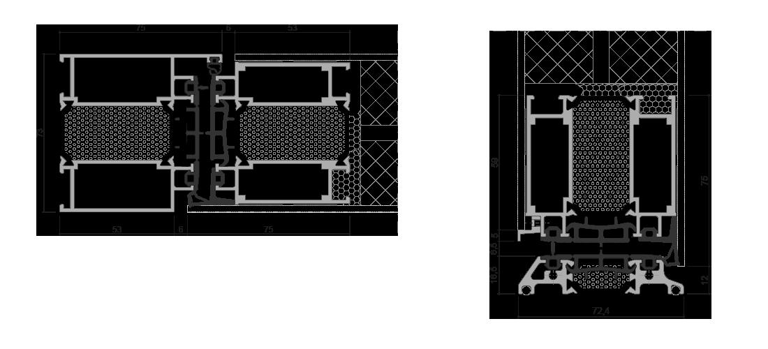 Sistema DOOR per pannello applicato esterno - interno: Sezione nodi